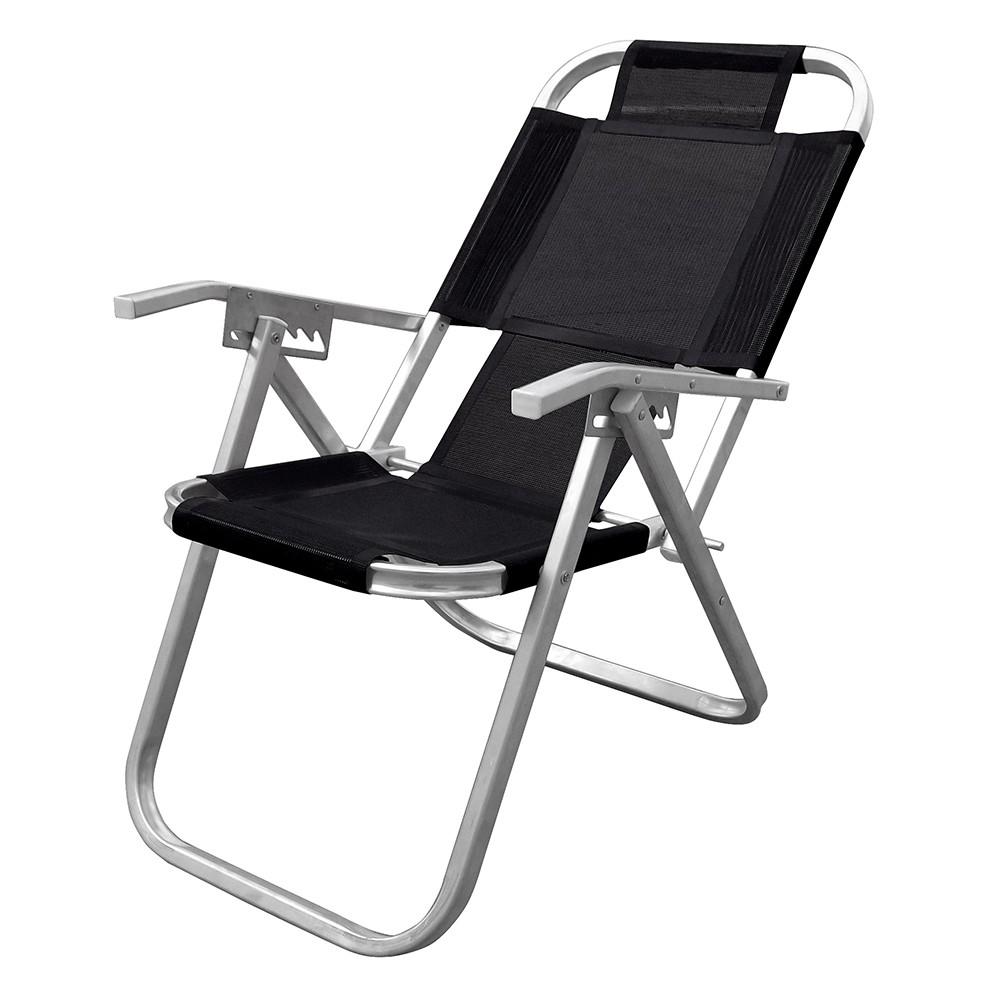 Cadeira de Praia Reclinavel em Aluminio Preta 5 Posicoes - Botafogo