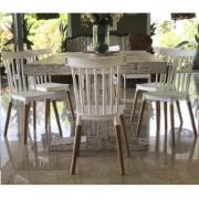 Cadeira de Aproximação Branca Windson Pés de Madeira - Garden