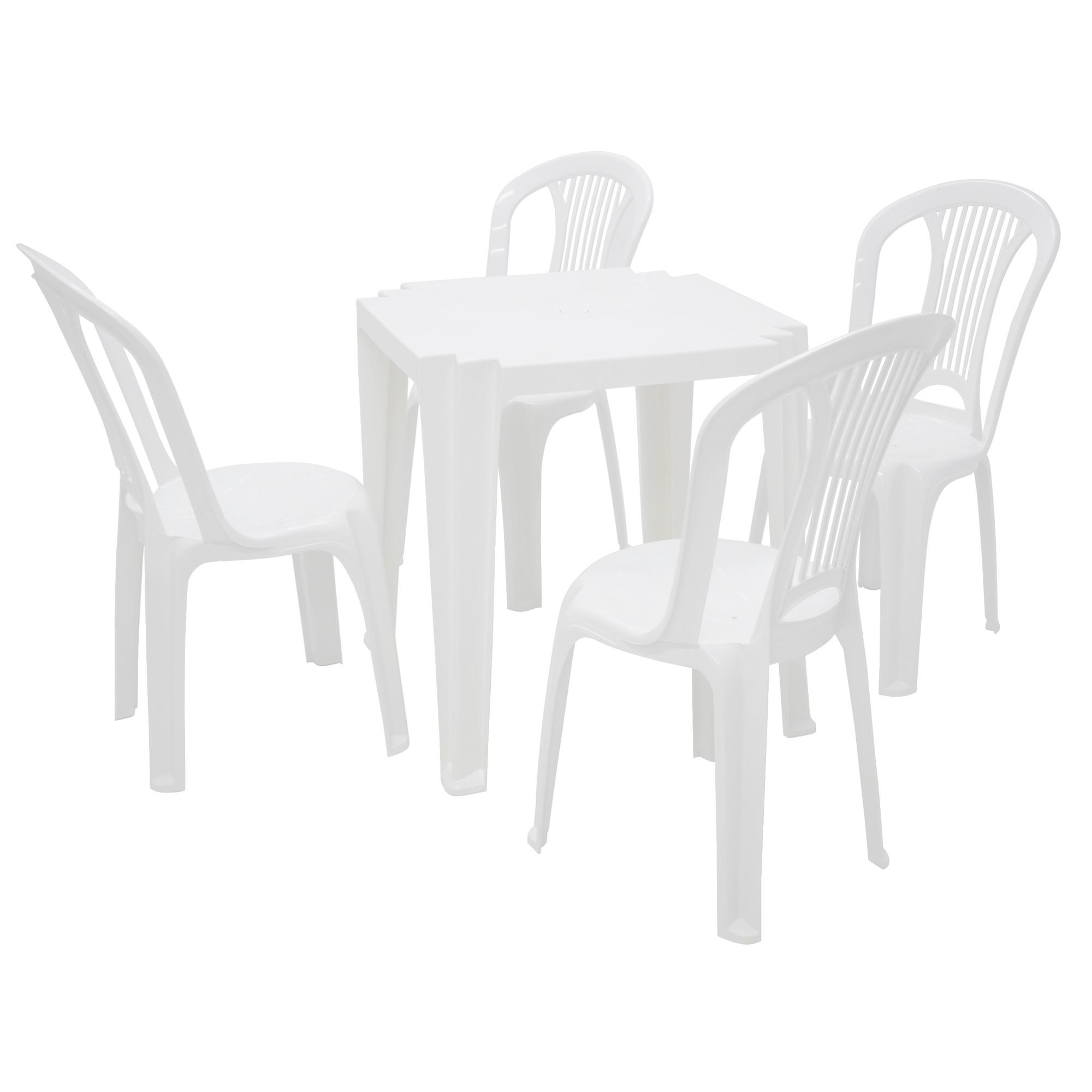 Conjunto de Mesa Tambau Tramontina com 4 Cadeiras Bistro de Plastico