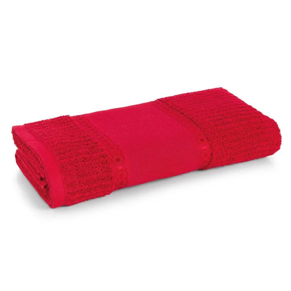 Toalha De Visita Passa Fitas para Bordar 100 Algodao 48x80 cm Vermelho - Karsten