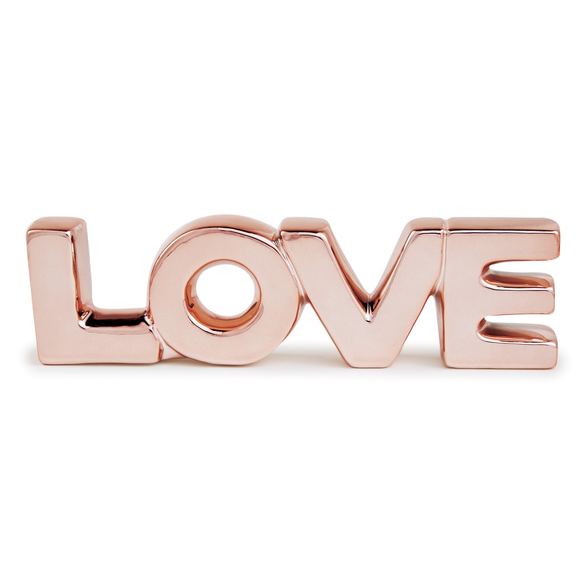 Enfeite Decorativo Love em Ceramica 21cm Rose - Mart