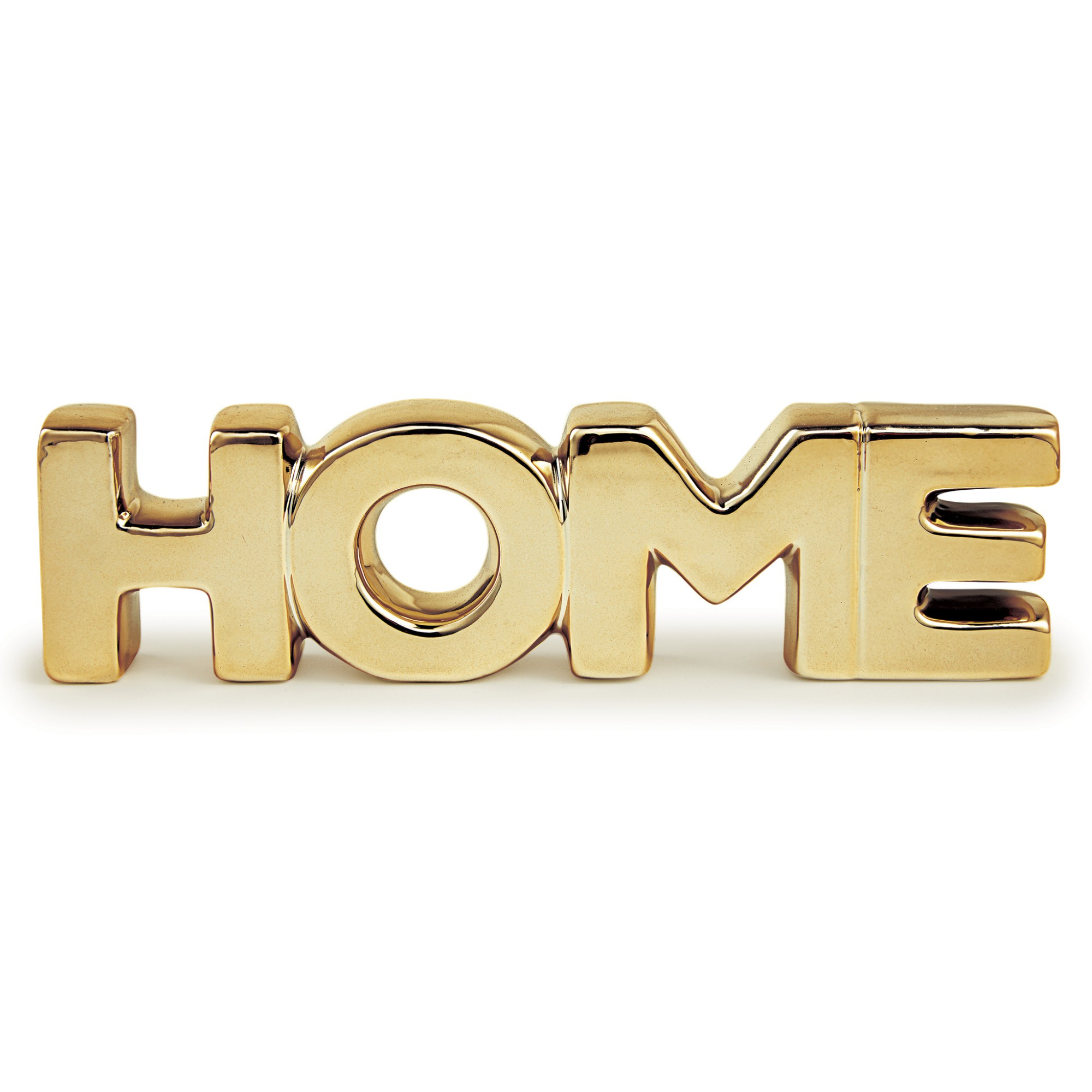 Enfeite Decorativo Home em Ceramica 20cm Dourado - Mart