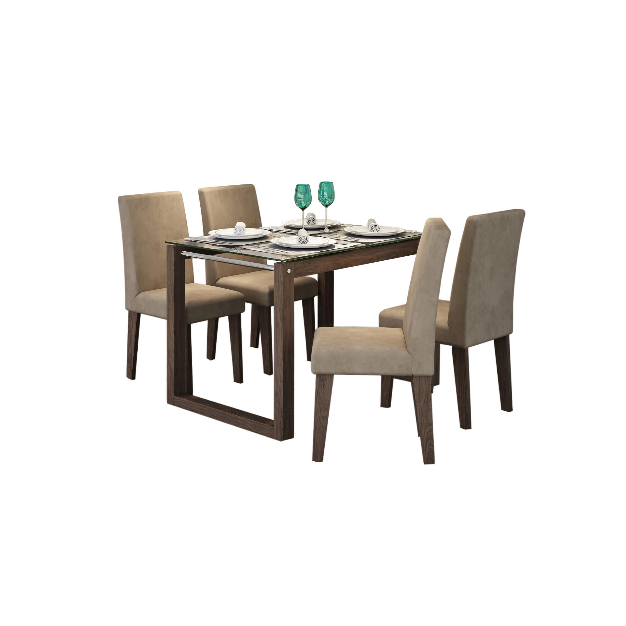 Conjunto de com 4 Cadeiras Mesa 120x80 cm Anita Suede Marfim - Cimol