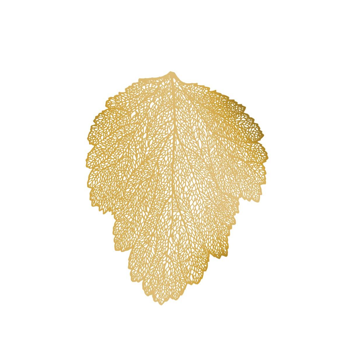 Pano Americano em PVC 36x47cm Leaf Dourado 1 Peca - Rojemac UD