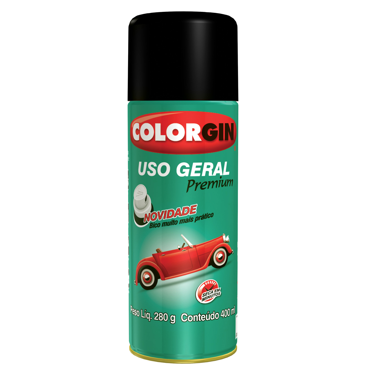 Tinta Spray Brilhante Uso geral Interno e Externo - Preto - 400ml - Colorgin