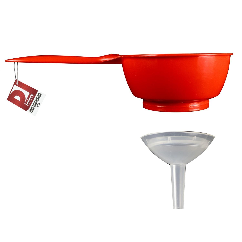 Funil com Peneira de Plastico 12x24x13 cm Vermelho - Mypa