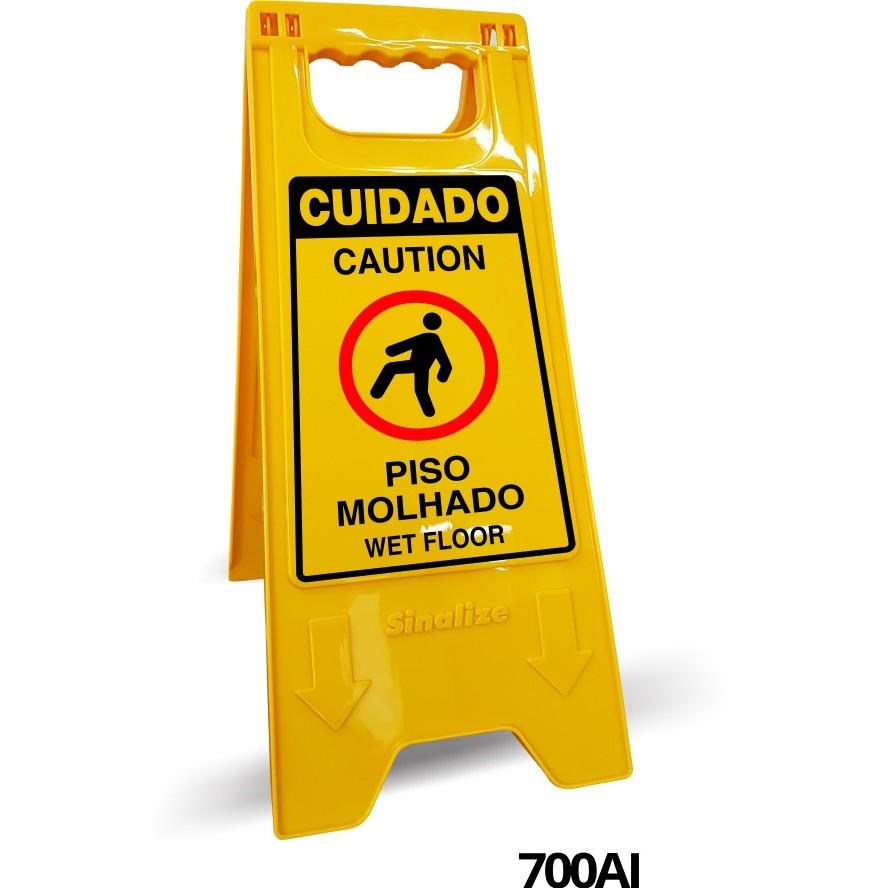 Placa de Plastico Piso Escorregadio 53x21 cm 700AI Amarela - Sinalize