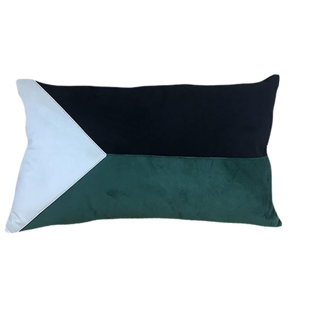 Almofada 35x52 cm com Emenda Verde e Preto - Decortextil