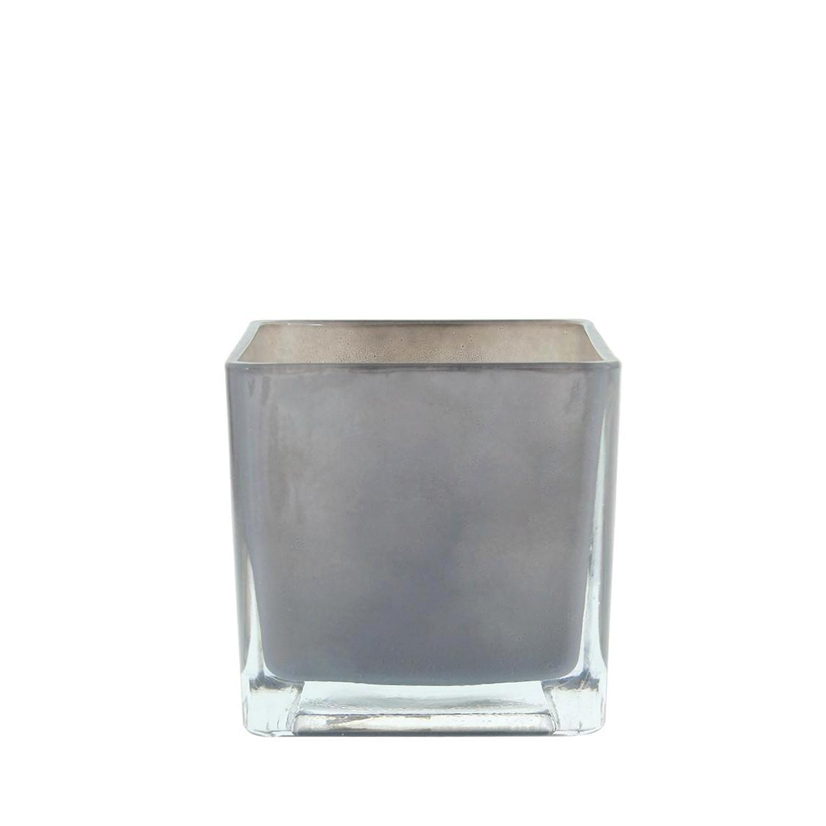 Vaso Decorativo de Vidro Quadrado 12cm Cinza