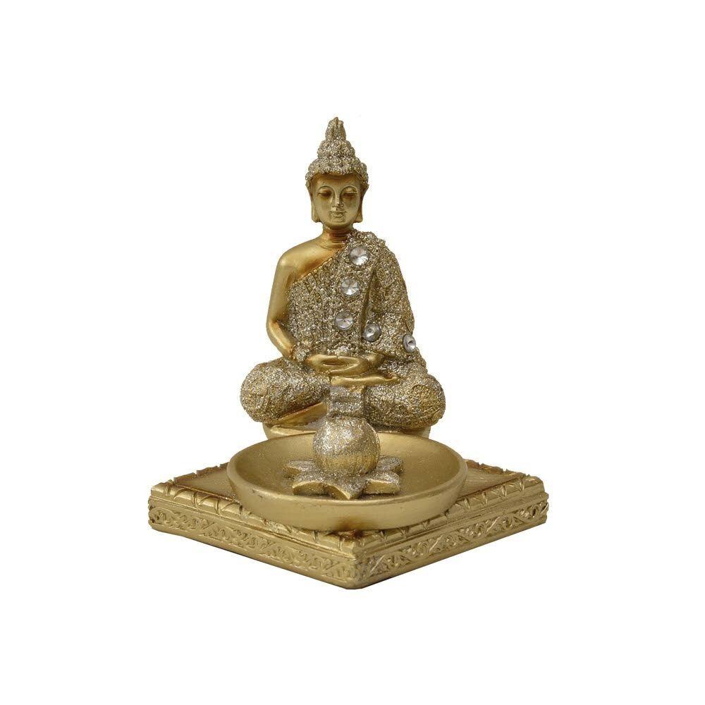 Porta Incenso Buda 11 cm Dourado - Bras Continental
