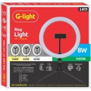Kit Ring Light de Mesa 26cm Glight com Tripé 19cm Preto