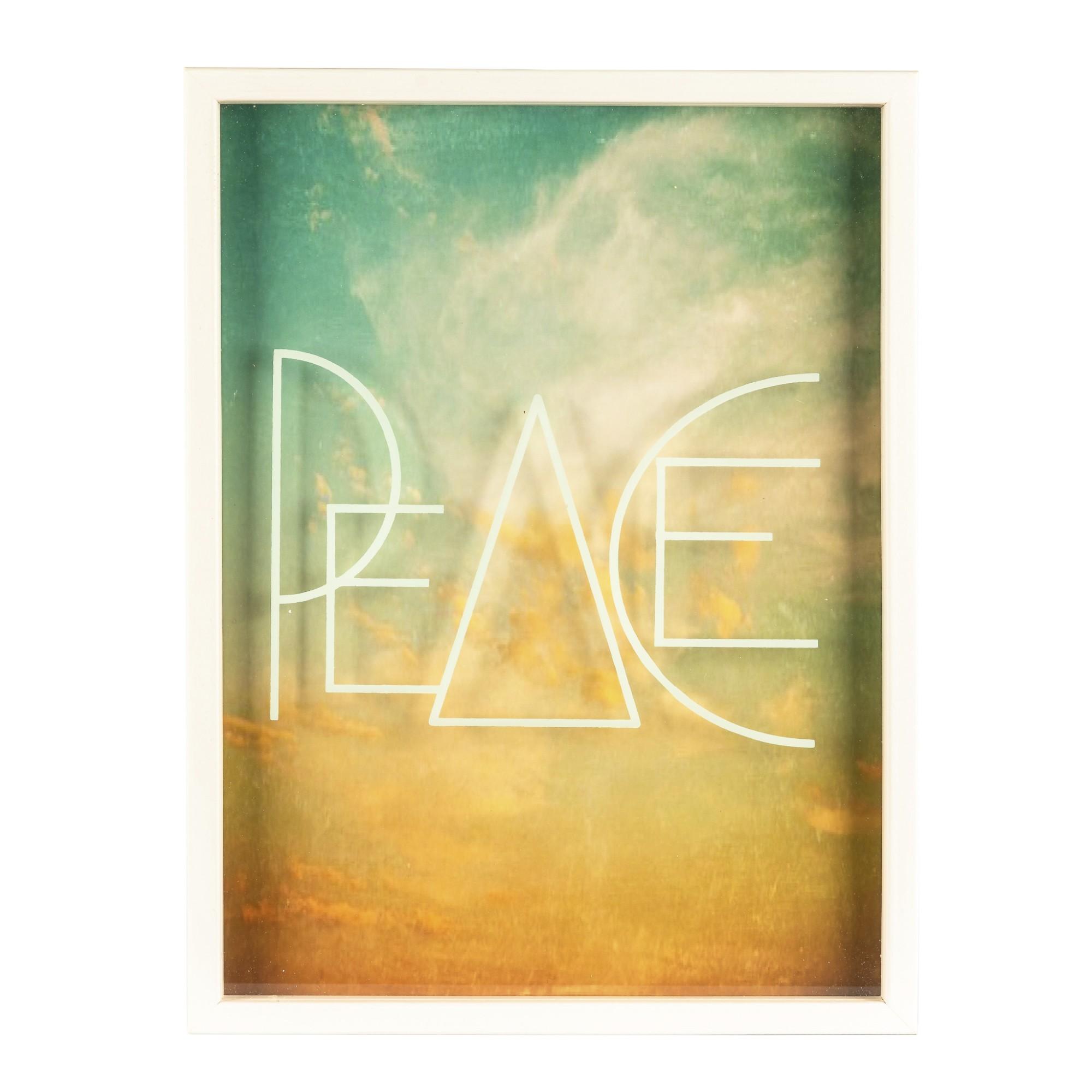 Quadro Decorativo 30x40 cm com Vidro Pintado Peace 3343 - Art Frame
