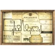 Quadro Decorativo 25x40 cm Porta-Rolha com Vidro Luxo 827/3 - Art Frame
