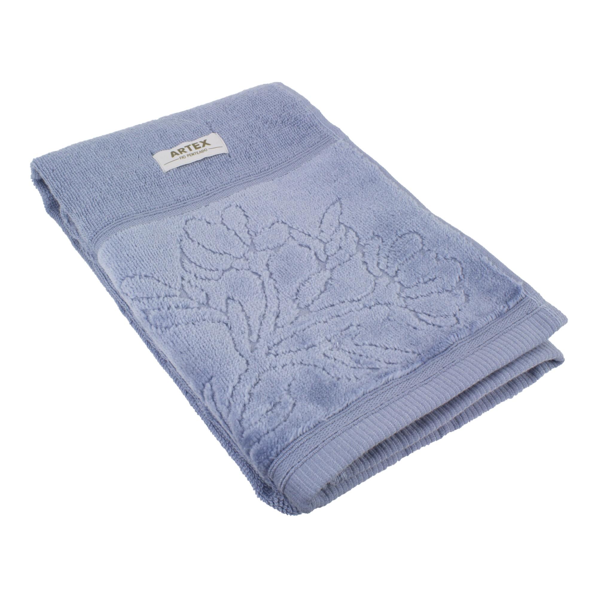 Toalha de Rosto Artex Le Bain 100 Algodao 50x80 cm Azul Denin
