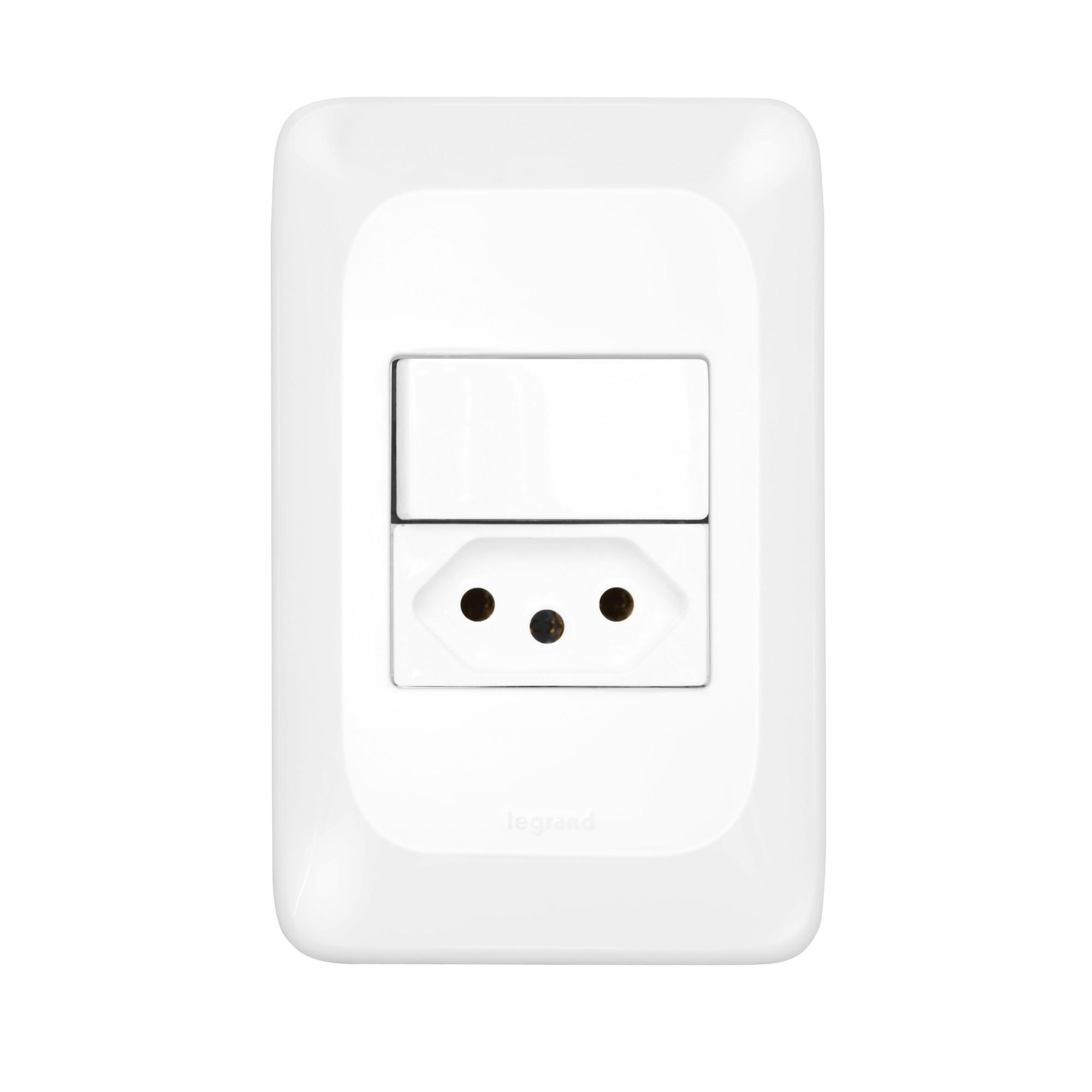 Conjunto 1 Interruptor Simples 1 Tomada 20A 2PT Linha POP 4x2 Branco - Legrand