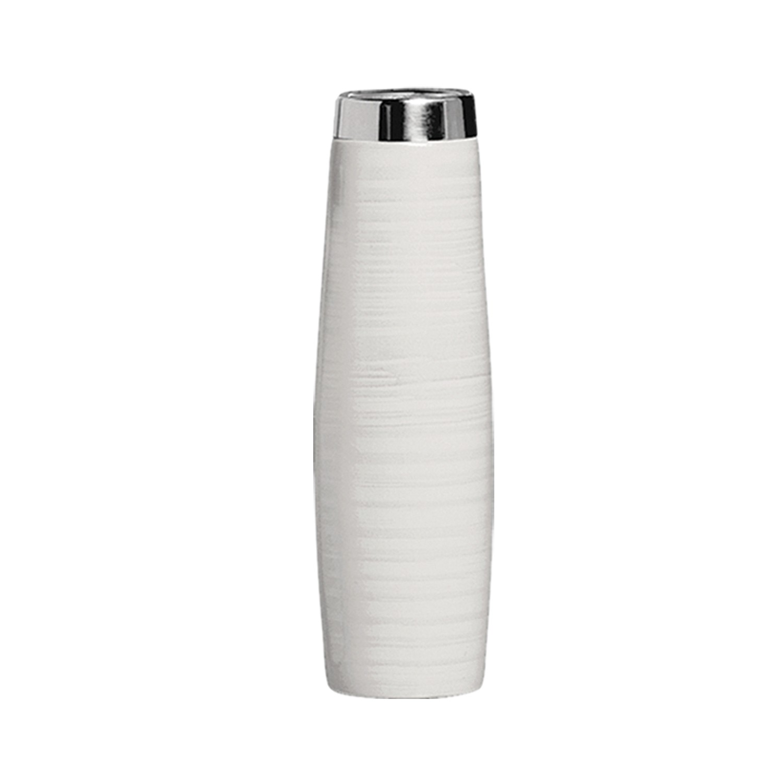 Vaso Decorativo Tubinho de Ceramica Redondo Branco - Ana Maria