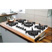 Cooktop 5 Bocas Dako Glass à Gás Bivolt com Acendimento Superautomático - Branco