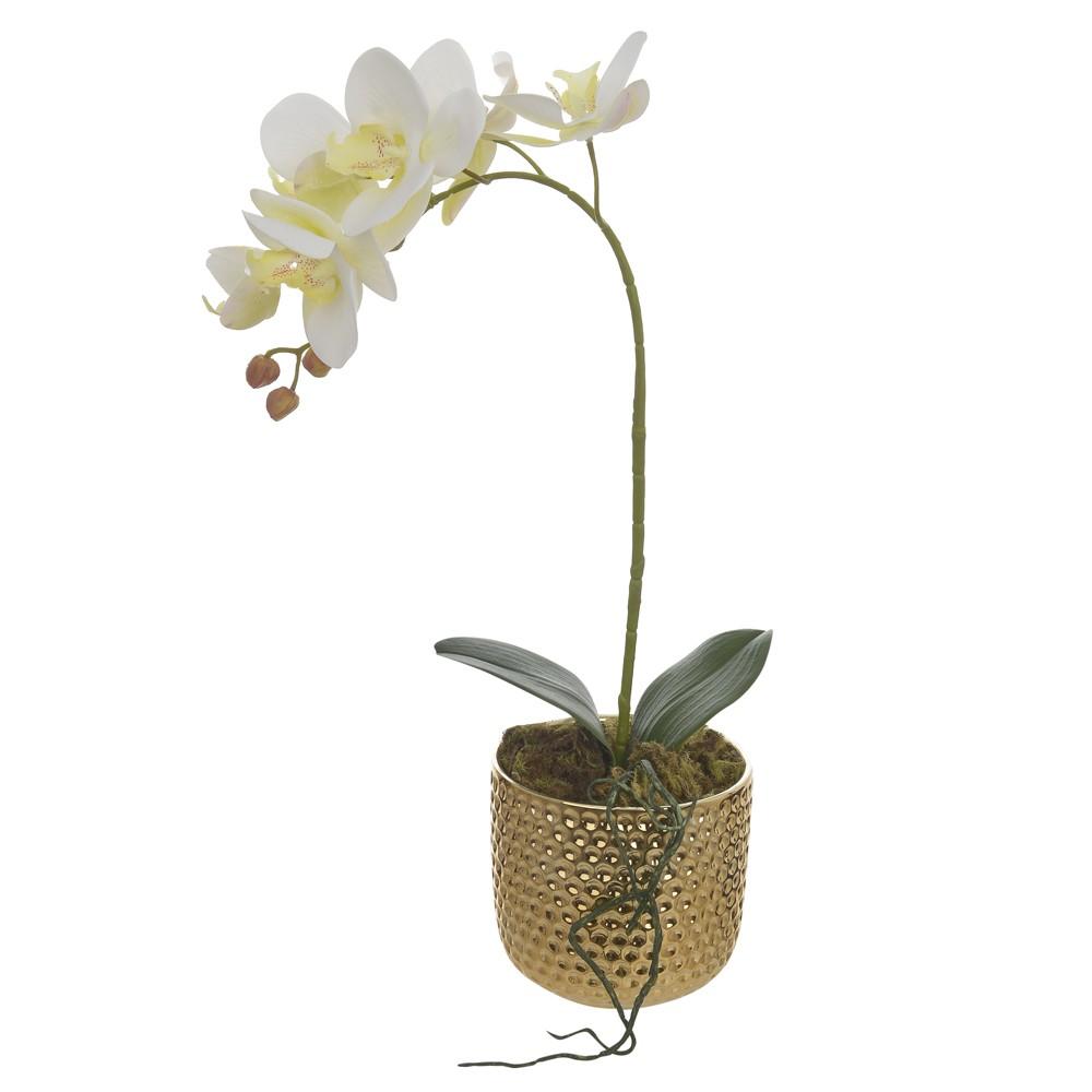 Arranjo Decorativo Orquidea com Vaso de Ceramica Dourado - Dea