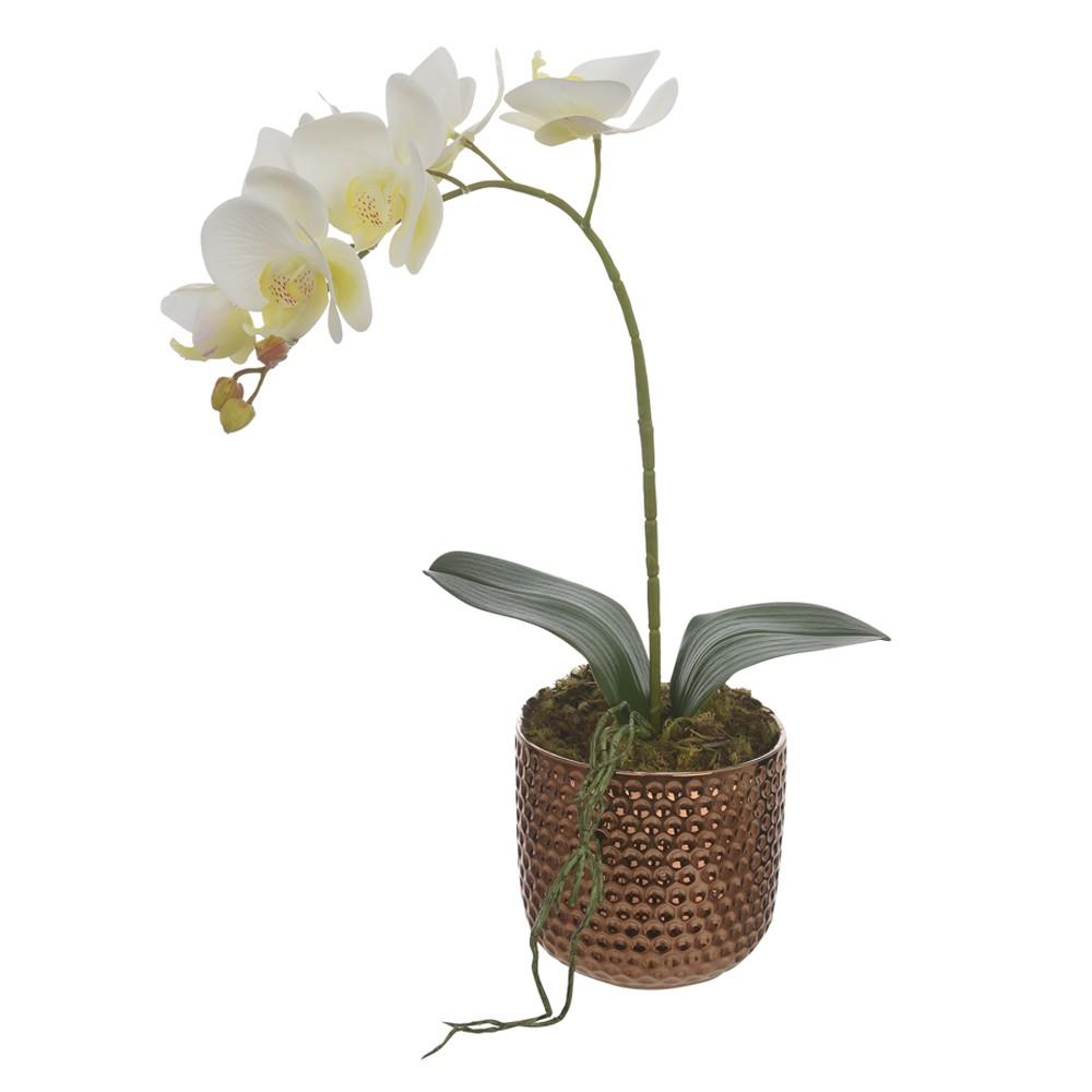 Arranjo Decorativo Orquidea com Vaso de Ceramica Cobre - Dea