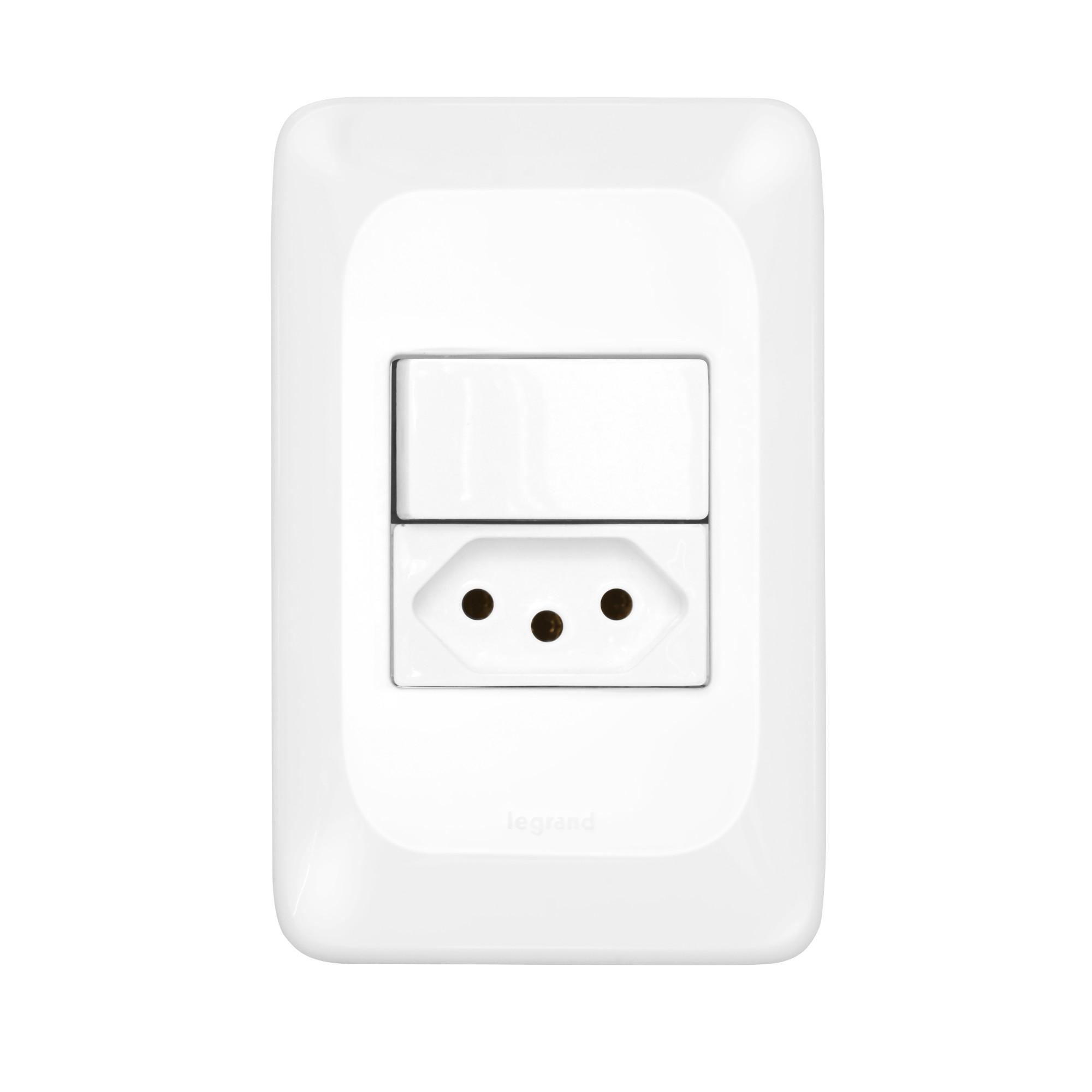 Conjunto 1 Interruptor Paralelo 1 Tomada 10A 2PT Linha POP 4x2 Branco - Legrand