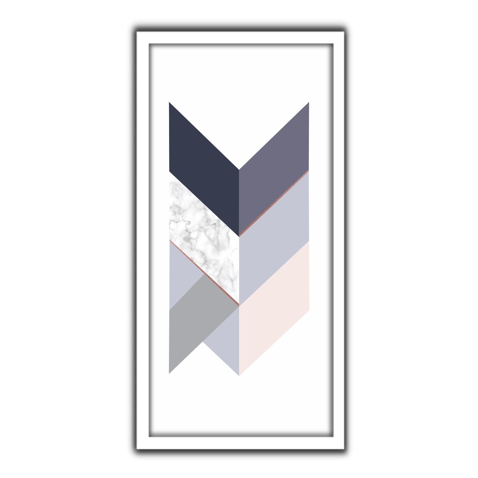 Quadro Decorativo 33x70cm Geometrico 90416 - Art Frame