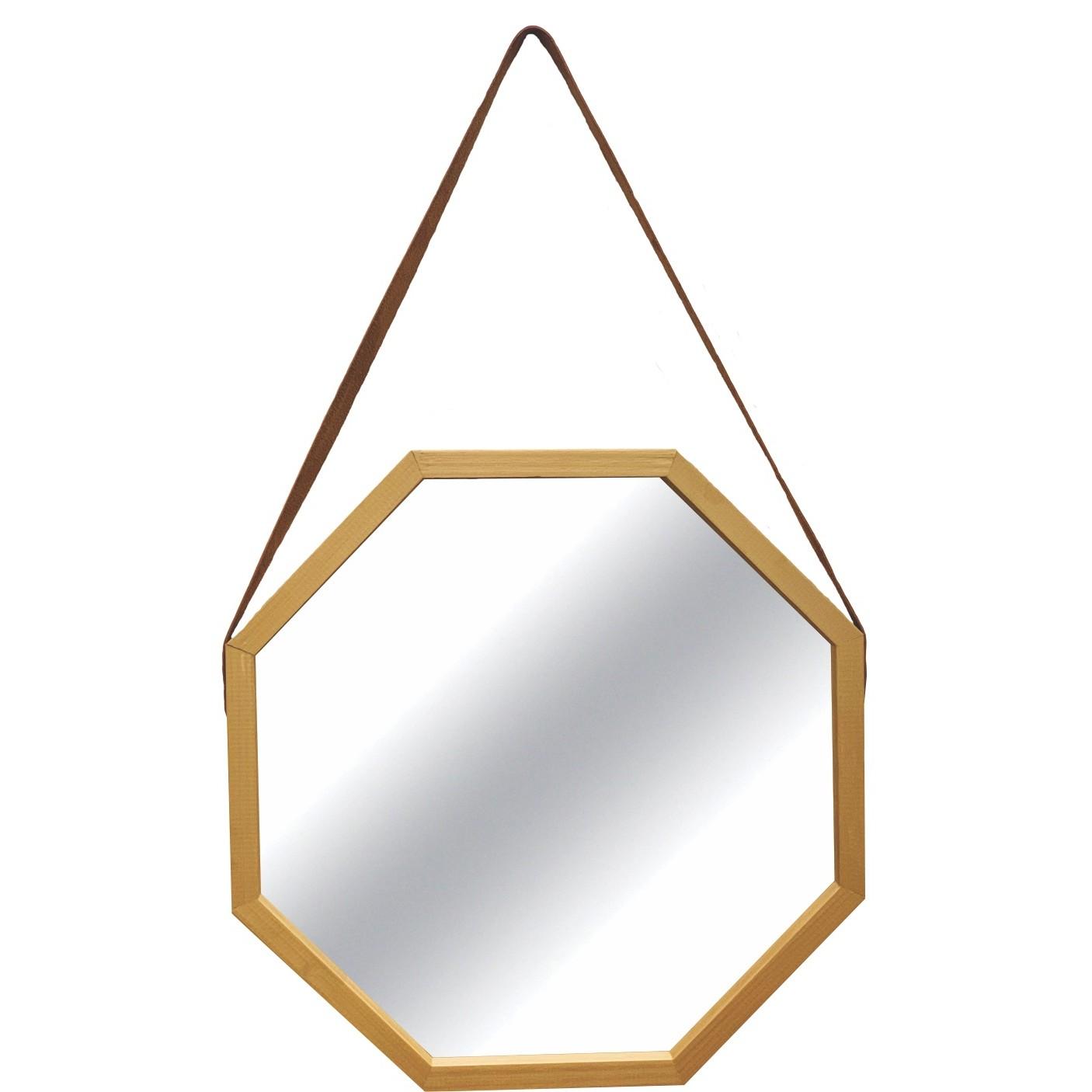 Espelho Decorativo de Parede Oitavado 40x40 cm com Alca Ouro - Art Frame