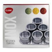 Kit Organizador de Temperos em Aço Inox 6 Peças - Clink