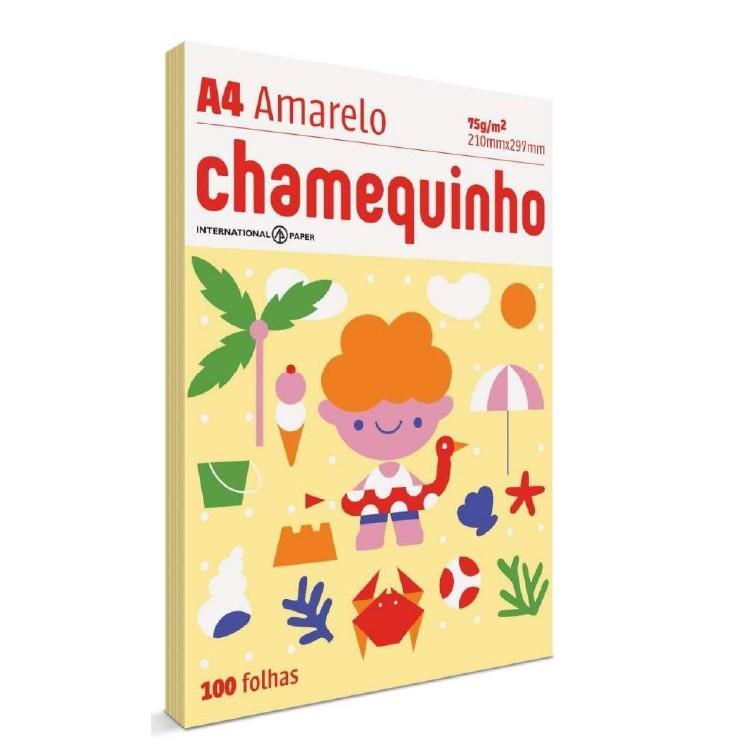 Papel A4 Chamequinho Amarelo 100 folhas