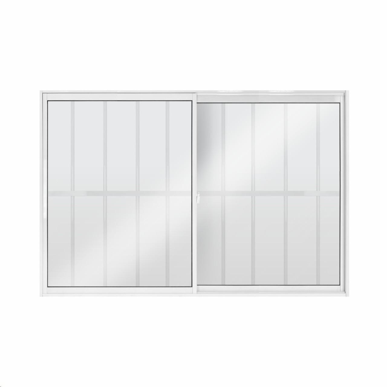 Janela de Correr Slim de Aluminio 2 Folhas com Grade 100x150cm Vidro Liso Branca - 922312 - Aluvid