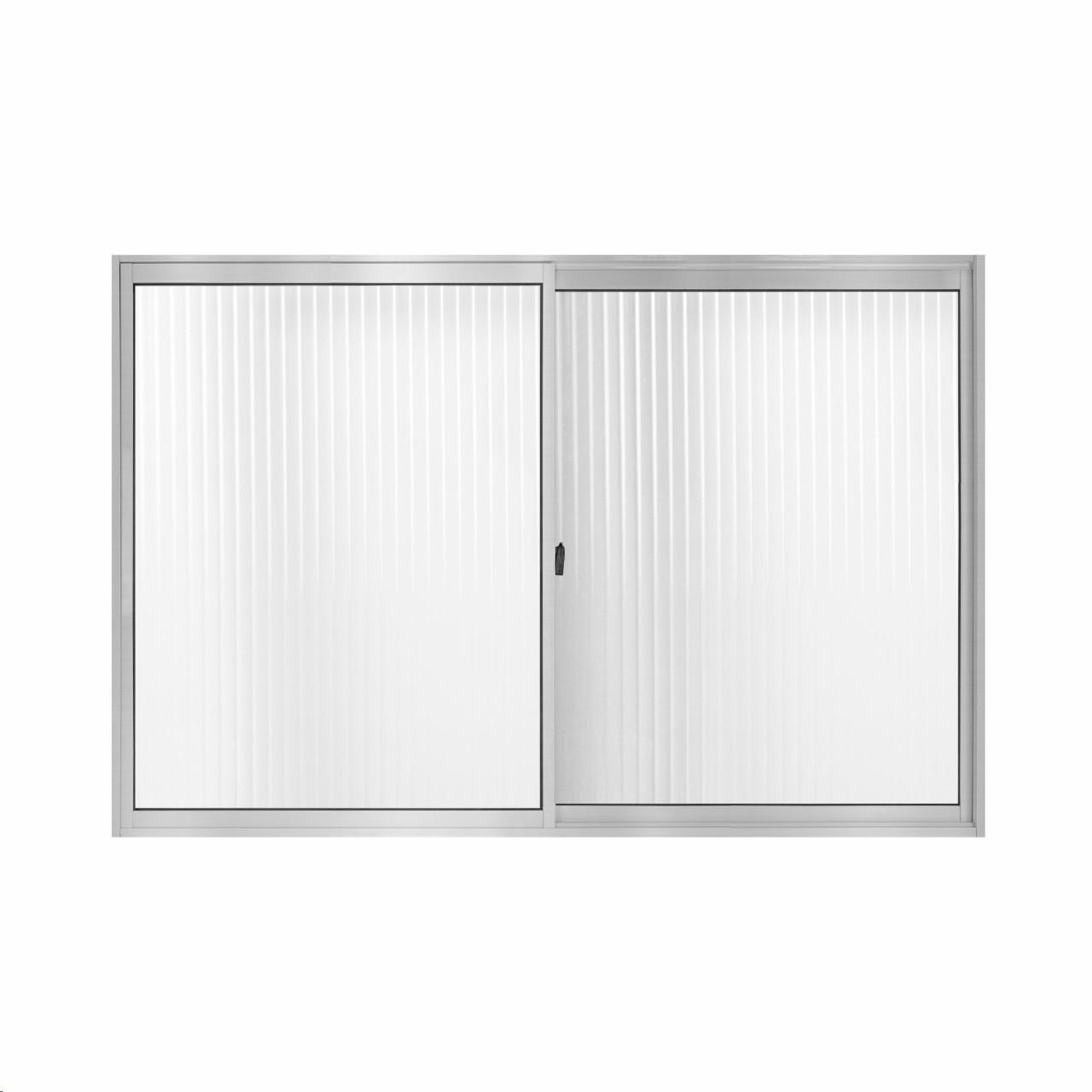 Janela de Correr Slim de Aluminio 2 Folhas 100x150cm Vidro Canelado Branca - Aluvid