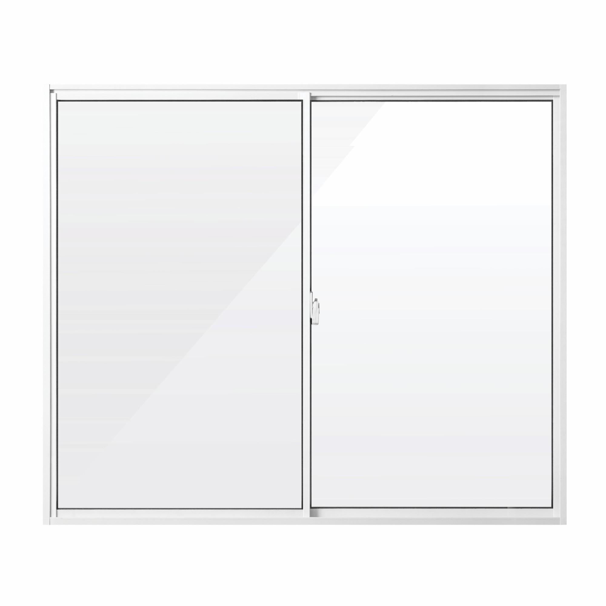 Janela de Correr Slim de Aluminio 2 Folhas 100x100cm Vidro Liso Branca - Aluvid