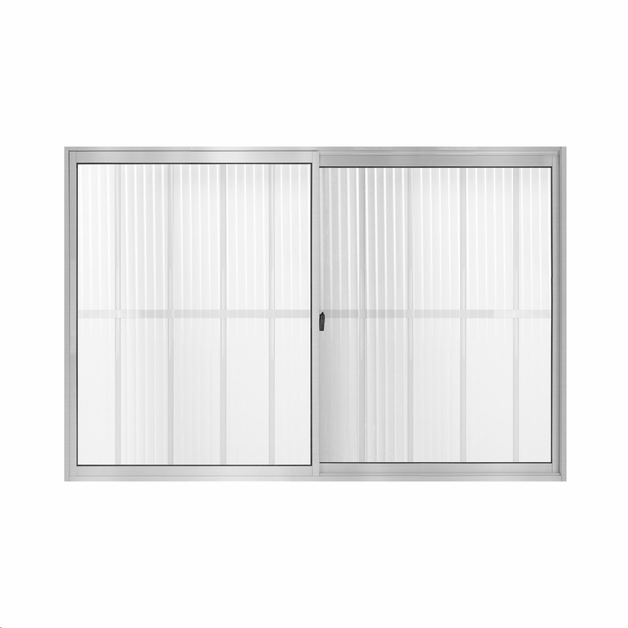 Janela de Correr Slim de Aluminio 2 Folhas com Grade 100x150cm Vidro Canelado Branca - 922309 - Aluvid