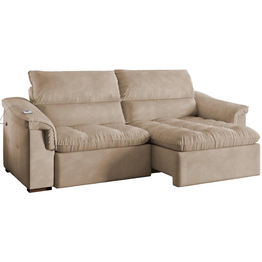 Sofa Retratil Reclinavel Spazzio Veludo D-28 110x239 cm - Spazzio