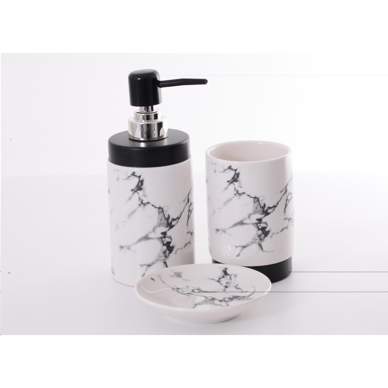 Kit de Acessorios para Banheiro 3 Pecas Ceramica - Rio de Ouro