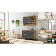 Balcão de Cozinha 2 Portas 3 Gavetas Burguesa 86x120 cm MDF Freijó/Grafite - Nesher