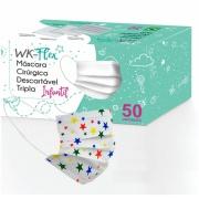 Mascara Cirúrgica Descartável Infantil 50 unidades Branca com Estampa de Estrelas - WK Flex