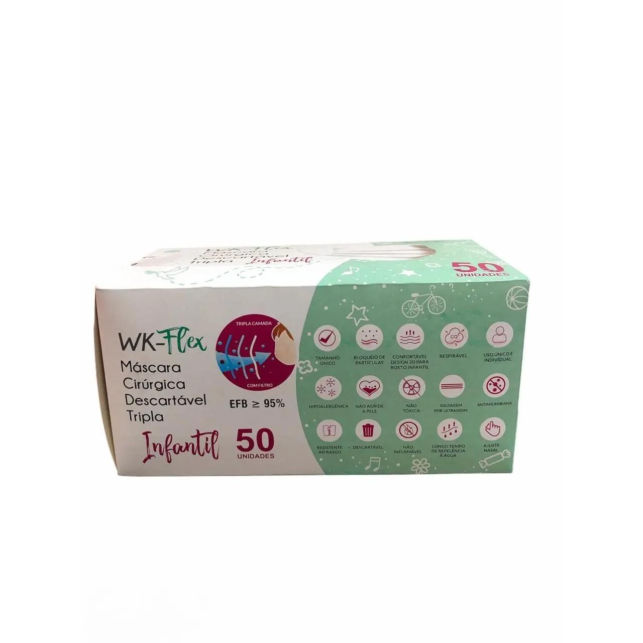 Mascara Cirurgica Descartavel Infantil Branca com 50 unidades- WK Flex