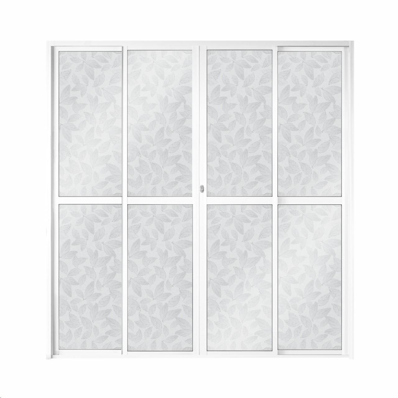 Porta Balcao de Aluminio 4 Folhas 210x200cm Branca - 921907 - Aluvid