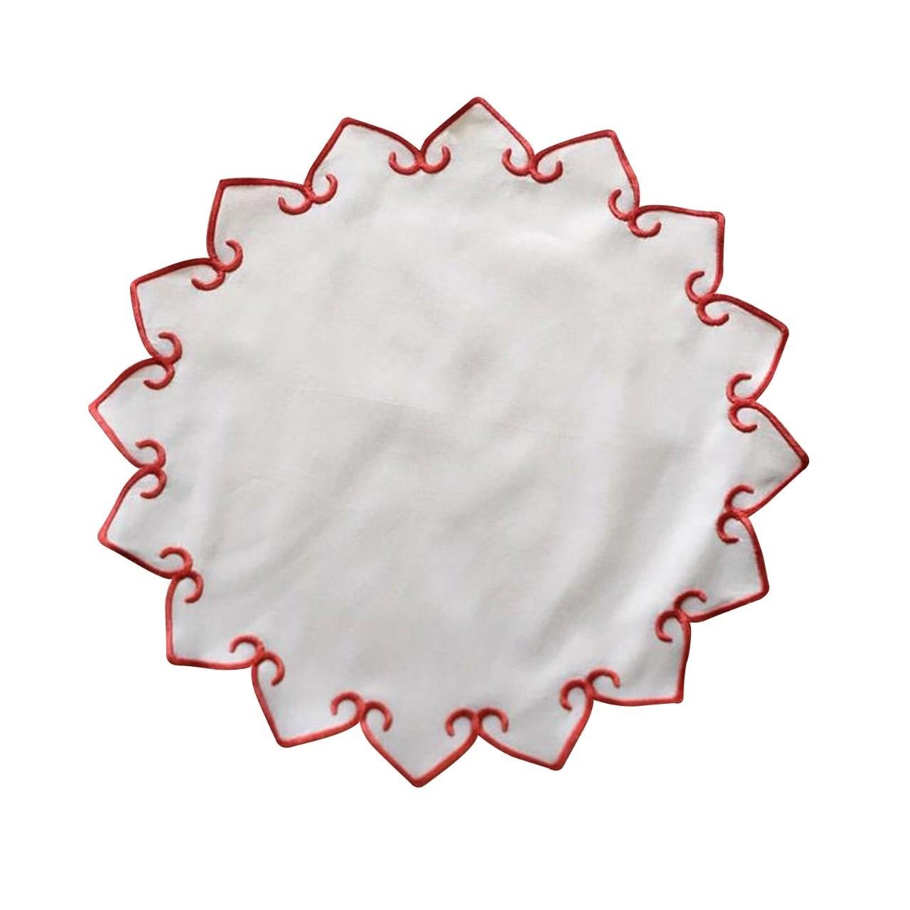 Pano Americano Redondo 395x395cm Bordado Vermelho - Noemy Artesan