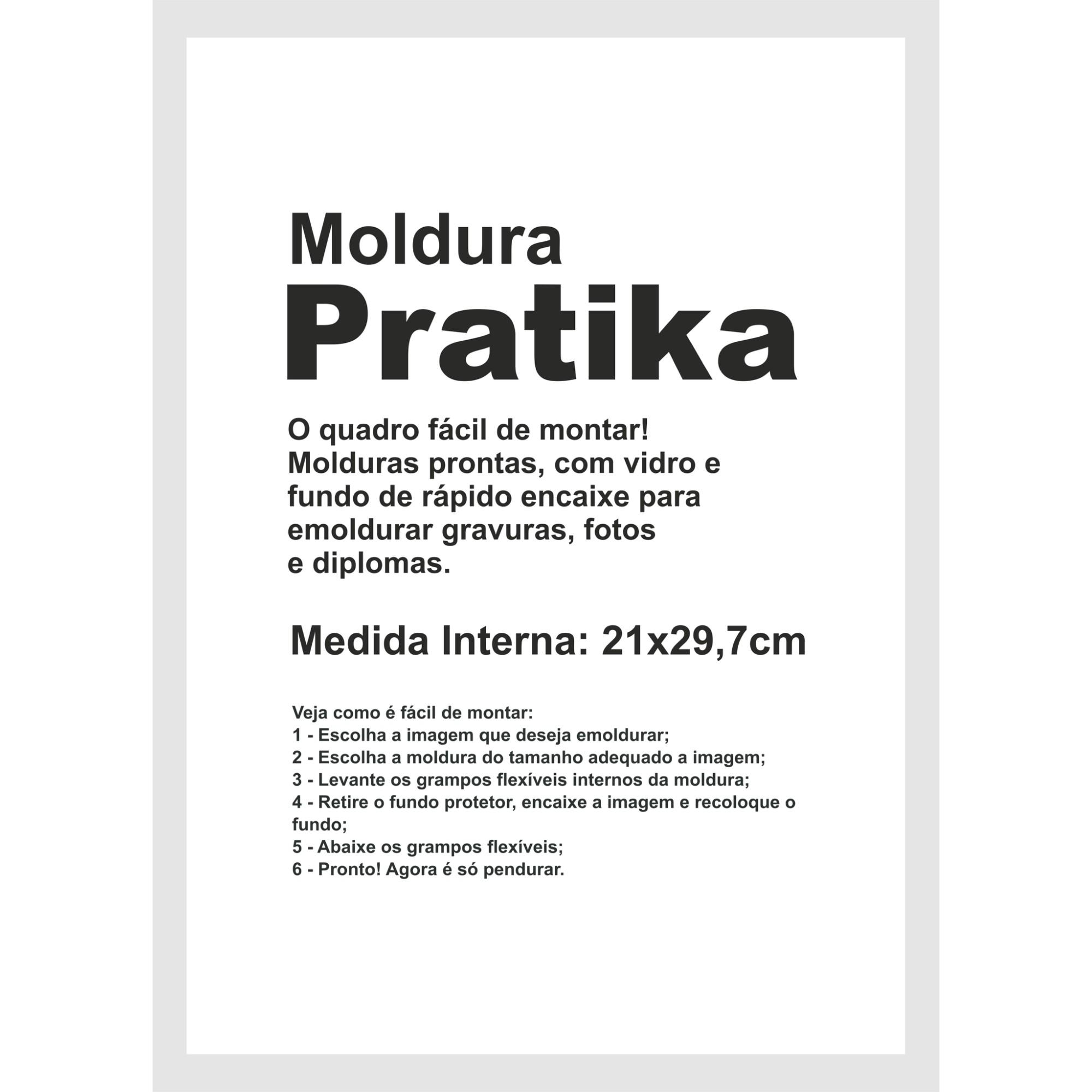 Quadro Decorativo Pratika 21x29cm Branco - Kapos