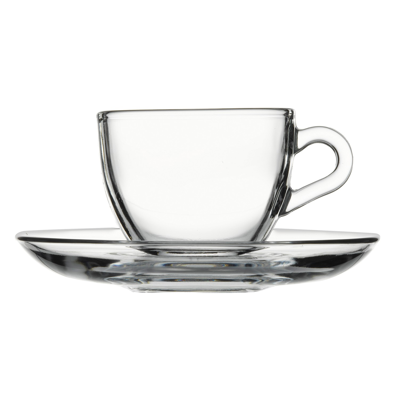 Xicara de Cafe com Pires de Vidro 90ml Transparente - Mypa