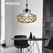 Lustre Corda e Metal 30cm 40W E27 Marrom - Nitrolux - 5057