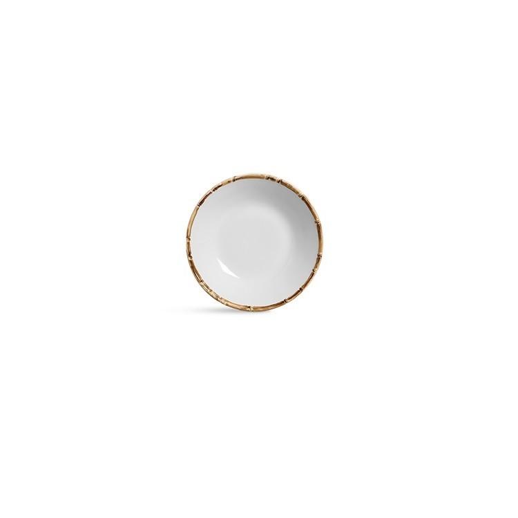 Prato Fundo Bambu 24cm em Ceramica Branco - Scalla