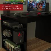 Mesa Gamer de MDP com Prateleiras 75x136cm Preta - Madesa