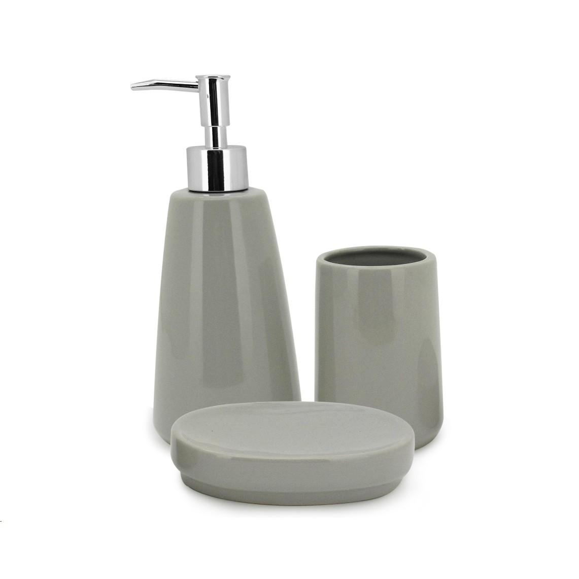 Jogo para Banheiro de Ceramica Pale Gray 3 Pecas - Mimo Imp - 7090