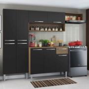 Cozinha Compacta Emilly Top com Armário e Balcão Rustic Preto - Madesa