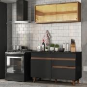 Cozinha Compacta Reims com Armário e Balcão Preto M120 - Madesa