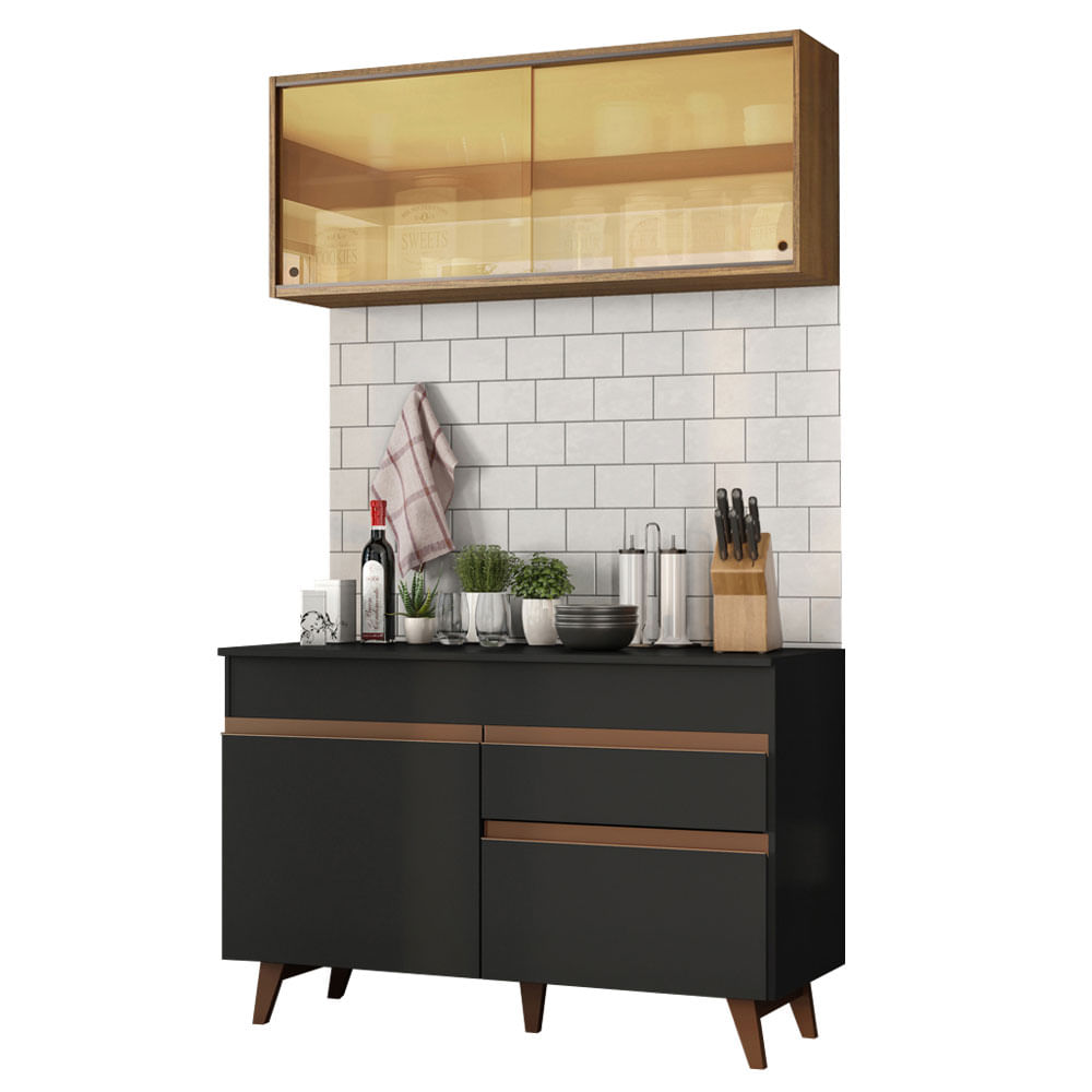 Cozinha Compacta Reims com Armario e Balcao Preto M120 - Madesa