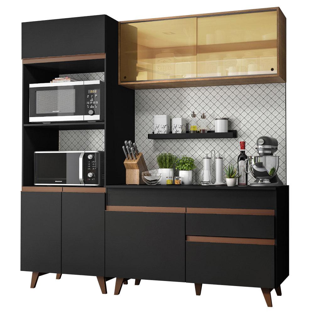 Cozinha Compacta Reims com Armario e Balcao Preto Rustic G200 - Madesa