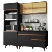 Cozinha Compacta Reims com Armário e Balcão Preto Rustic G200 - Madesa